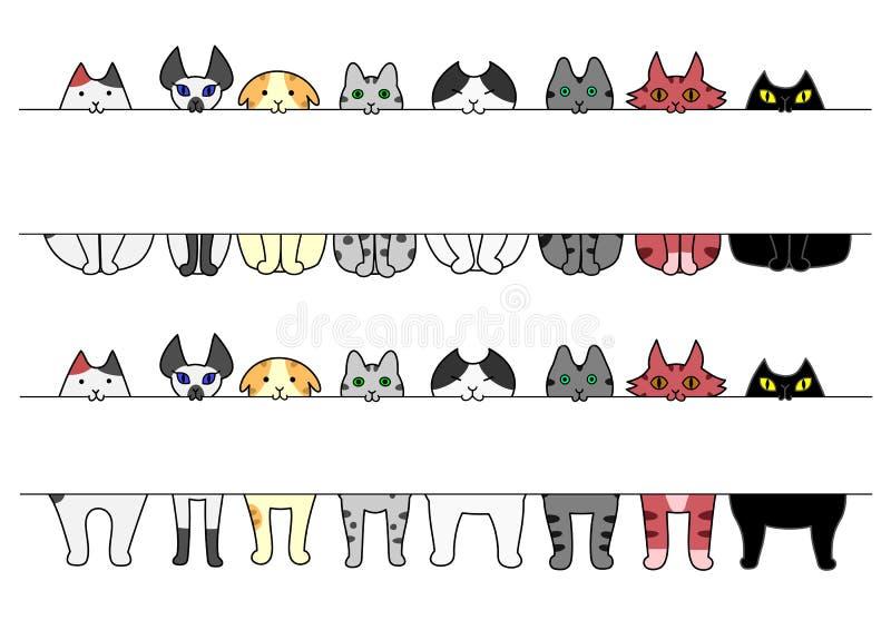 Stående och sittande katter med brädet i deras munnar royaltyfri illustrationer