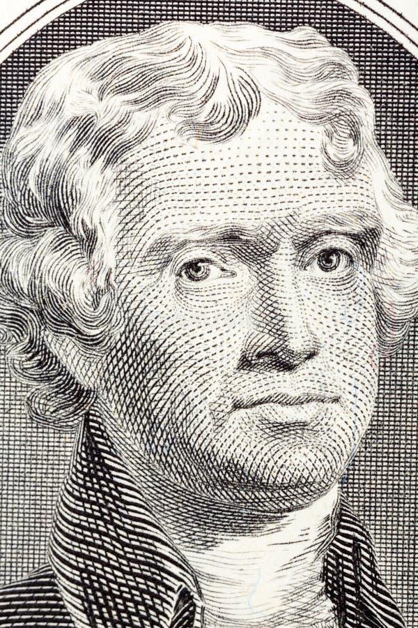 Stående på makro av Thomas Jefferson från räkningen för dollar två royaltyfria bilder