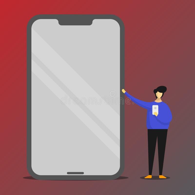 Stående peka för person till den enorma mobilen för tom skärm med skinande effekt och rymma en grej Man som framlägger jätten royaltyfri illustrationer