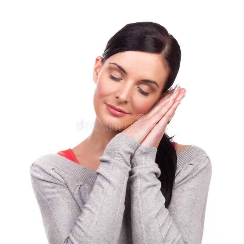 stående simulerad sova kvinna fotografering för bildbyråer