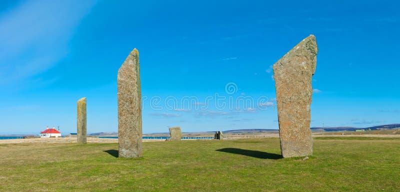 Stående stenar av Stenness, Orkney ö arkivfoton