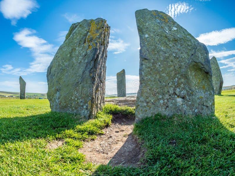 Stående stenar av Stenness, Orkney, Skottland neolithic arkivbilder