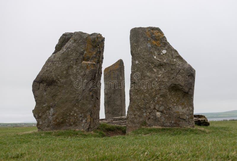 Stående stenar av Stenness, Skottland royaltyfria bilder