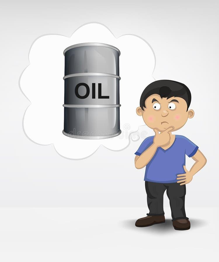 Stående ung pojke som tänker om olje- artikel royaltyfri illustrationer