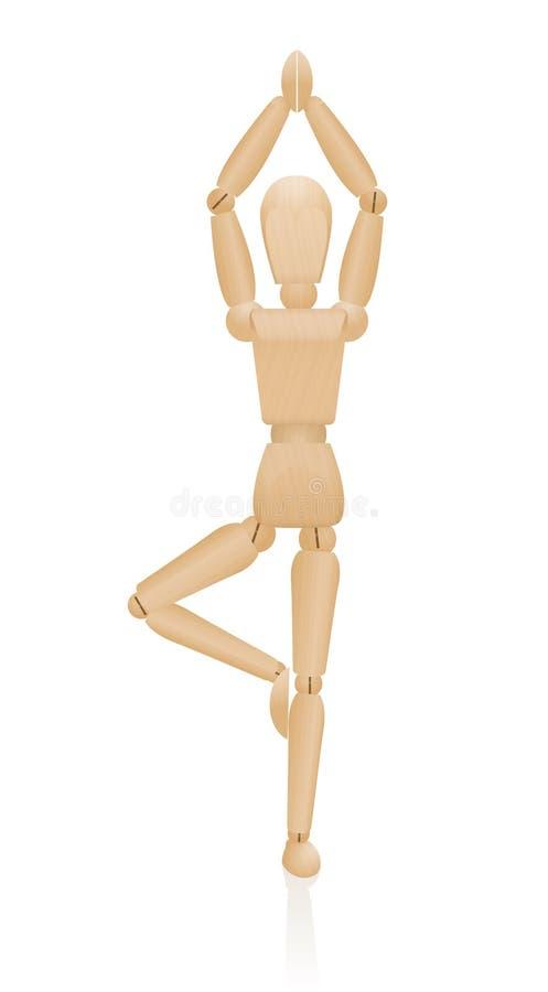 Stående yoga poserar träkonstnären Figure Mannequin vektor illustrationer