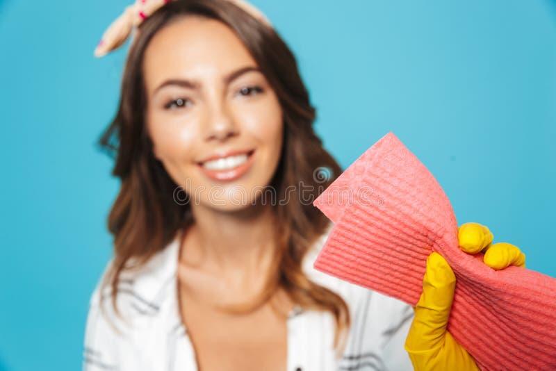 Ståendecloseup av den attraktiva kvinna20-tal som gör ren med svampen oss arkivfoton