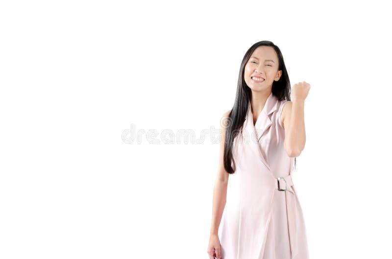 Ståendefoto av den asiatiska kvinnan med den lyckliga uttrycksframsidan och leende royaltyfri bild