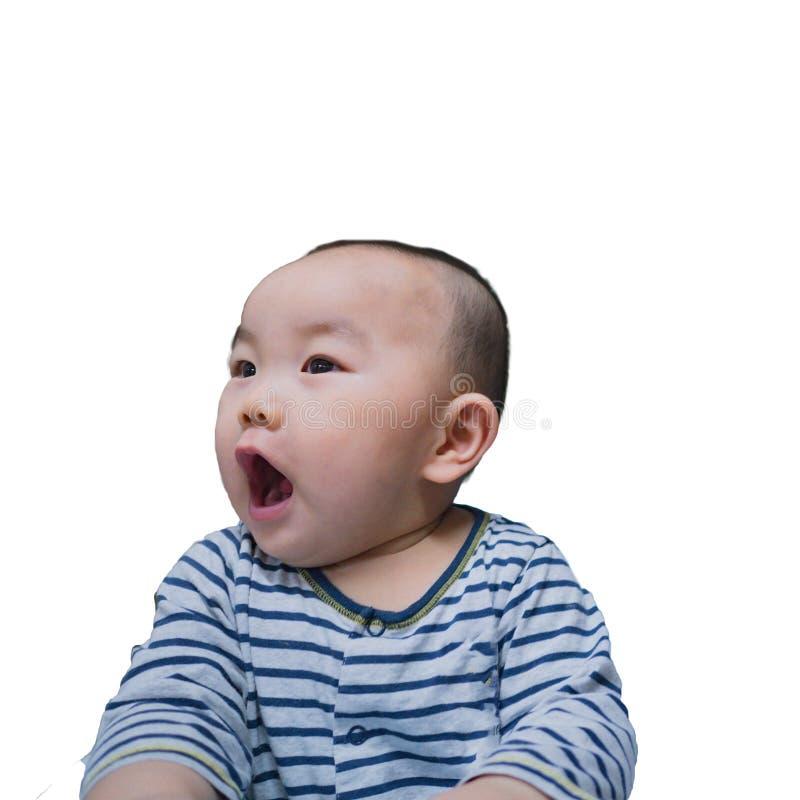 Ståendefotoet av Cutie och den stiliga asiatiska pojken behandla som ett barn arkivfoto