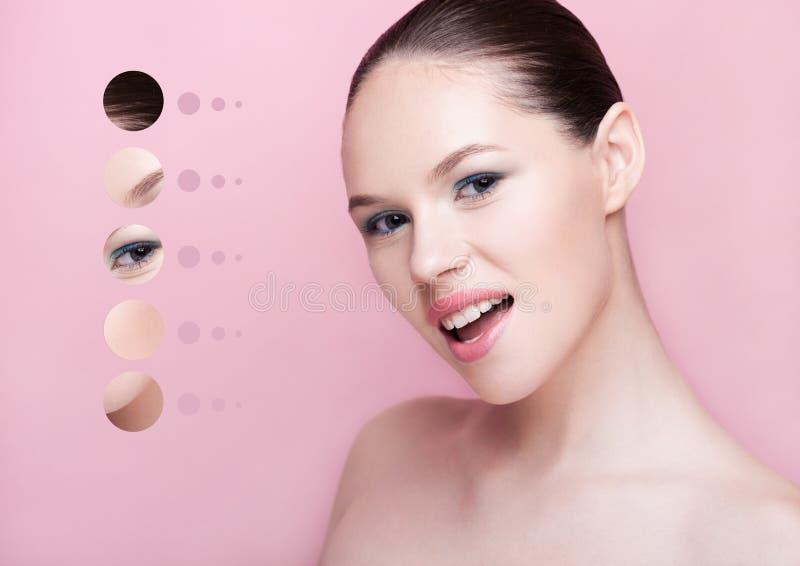 Ståendekvinnan med hud särar i cirkelbegrepp royaltyfria foton