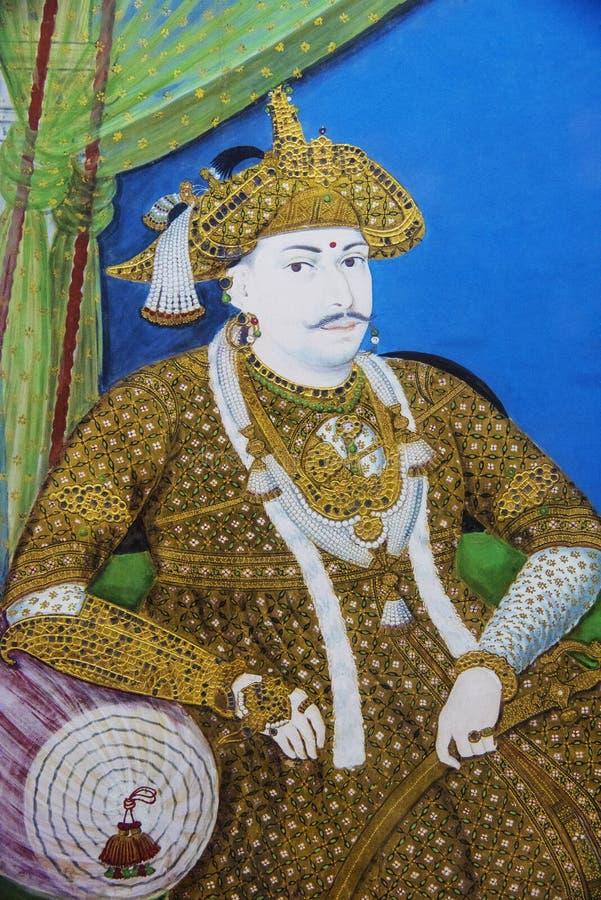 Ståendemålning av en konung som lokaliseras på det regerings- museet eller det Madras museet, Egmore, Chennai, Indien arkivbilder