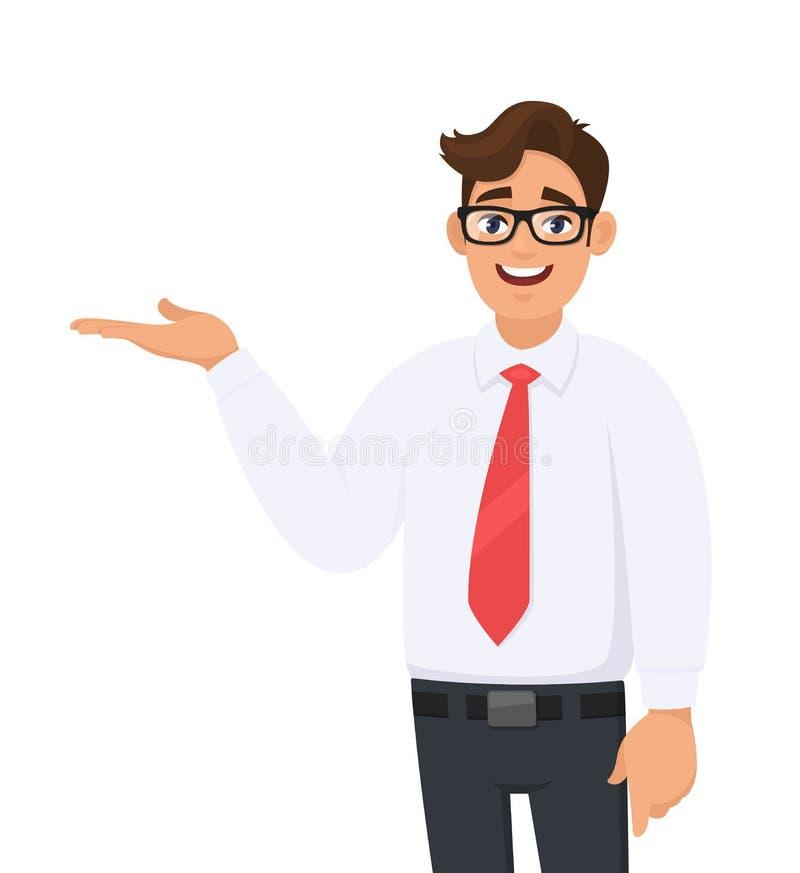 Ståenden av affärsmanuppvisning/som pekar handen för att kopiera utrymmesidan bort med öppet, gömma i handflatan, begreppet av an royaltyfri illustrationer