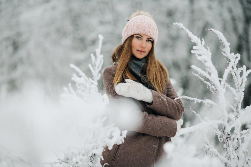 Ståenden av att le kvinnan i hatt går på i vinterskog royaltyfri bild