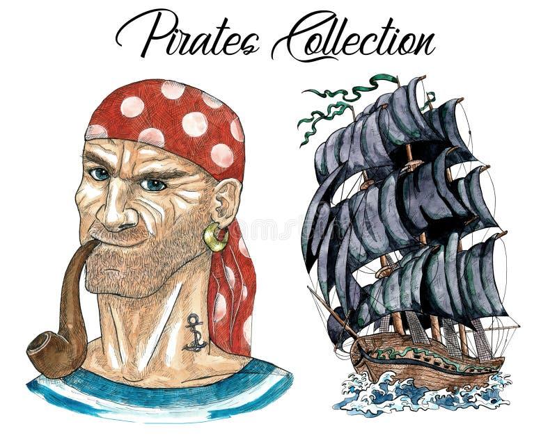 Ståenden av att röka sjömannen och det gamla skeppet med svart seglar vektor illustrationer