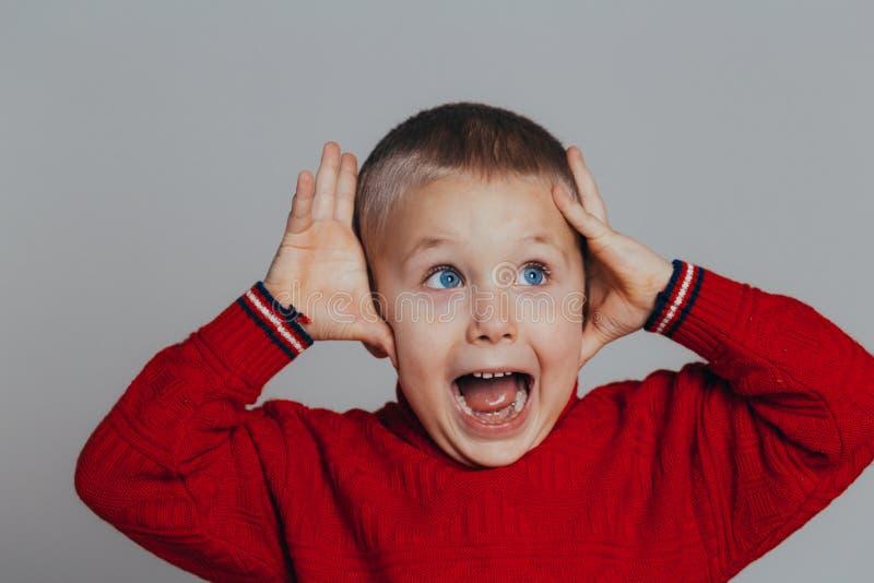 Ståenden av den attraktiva förvånade pojken i den röda tröjan som rymmer hans huvud med händer, stänger sig upp royaltyfri fotografi