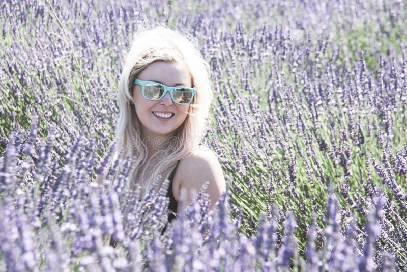 Ståenden av den blonda vuxna kvinnan står i ett lavendelfält som ler, i den guld- timmen för solnedgång i ett lavendelfält fotografering för bildbyråer