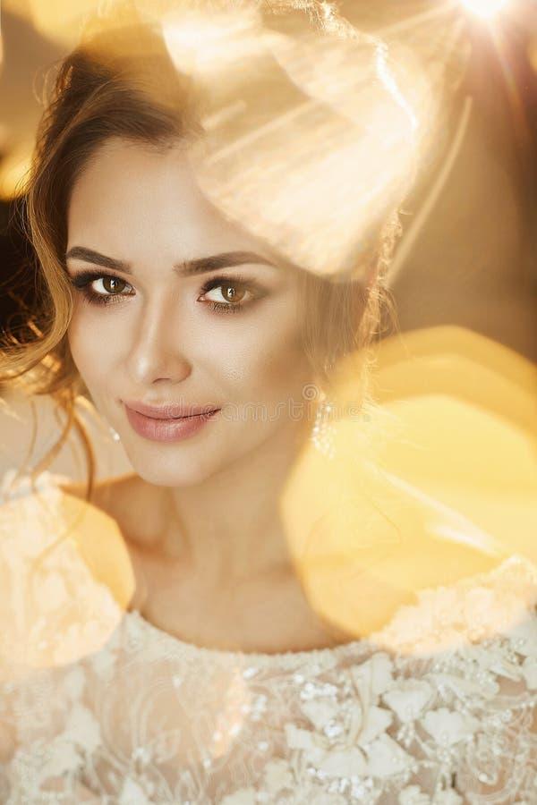 Ståenden av den härliga och sinnliga brunettmodellflickan med ljus makeup och stilfulla örhängen, i innegrej snör åt klänningen royaltyfri bild