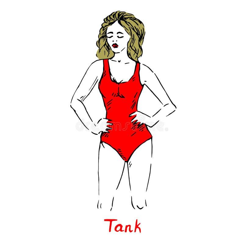 Ståenden av det sexiga retro blonda stiftet upp flicka i behållaretyp av en röd baddräkt för stycke med inskriften, utdraget klot stock illustrationer