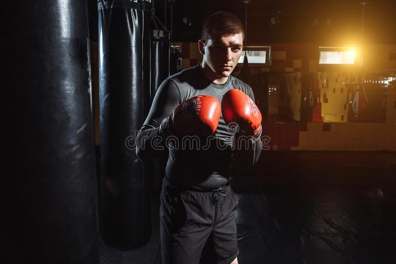 Ståenden av en boxare i idrottshallen, en man ser aggressiv fotografering för bildbyråer