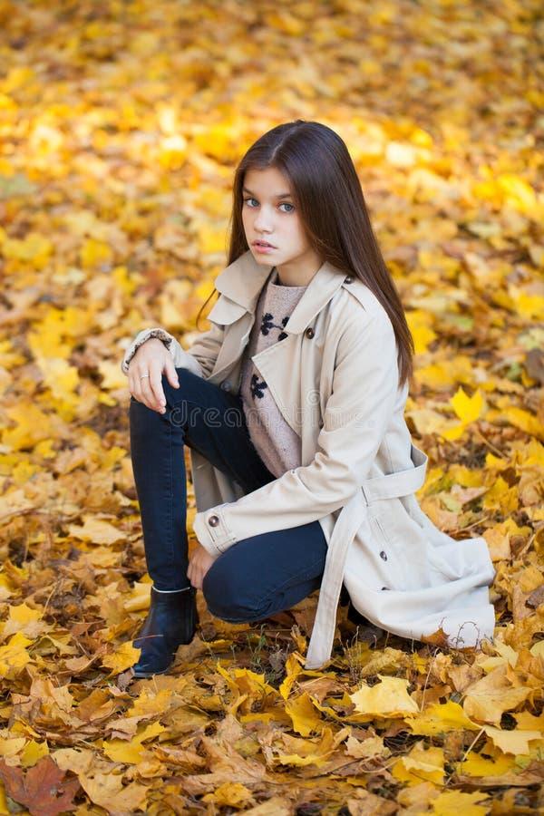 Ståenden av en härlig brunettliten flicka, höst parkerar det fria arkivbild