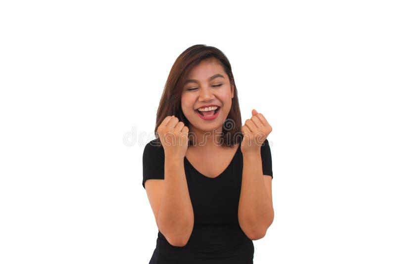 Ståenden av en härlig ung asiatisk kvinnaöverraskning rymmer kinder vid handen bakgrund isolerad white Uttrycksfull ansikts- expr arkivfoto
