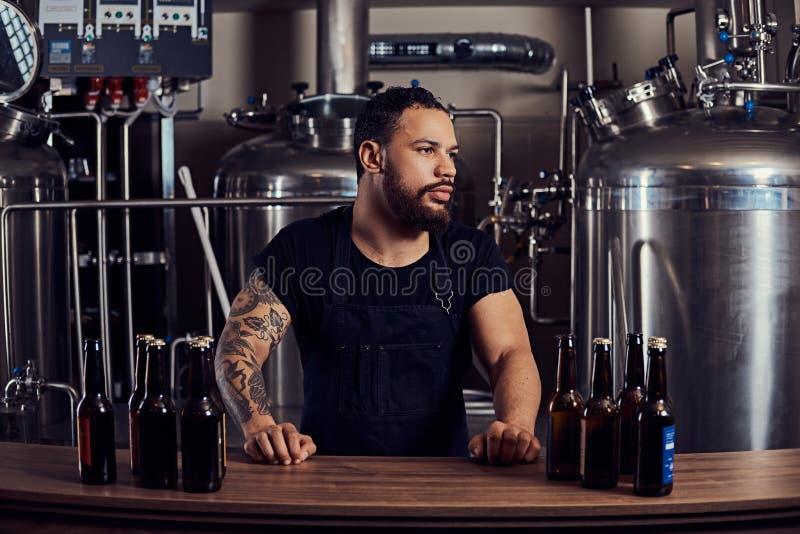 Ståenden av ett stilfullt skäggigt mörker flådde mannen med en tatuering på hans handanseende bak räknaren i bryggeriet royaltyfri foto