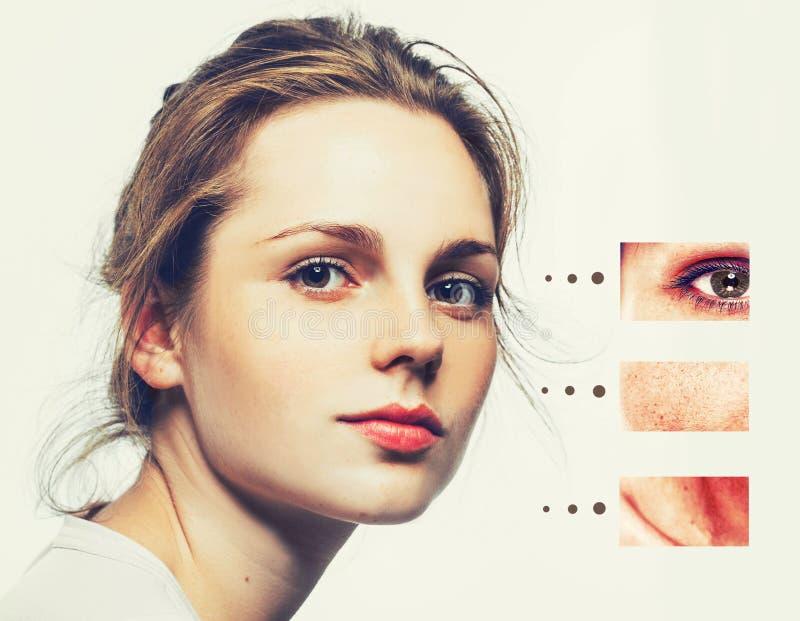 Ståenden av flickakvinnan med problem och frikänden flår, åldras och ungdombegreppet arkivfoto