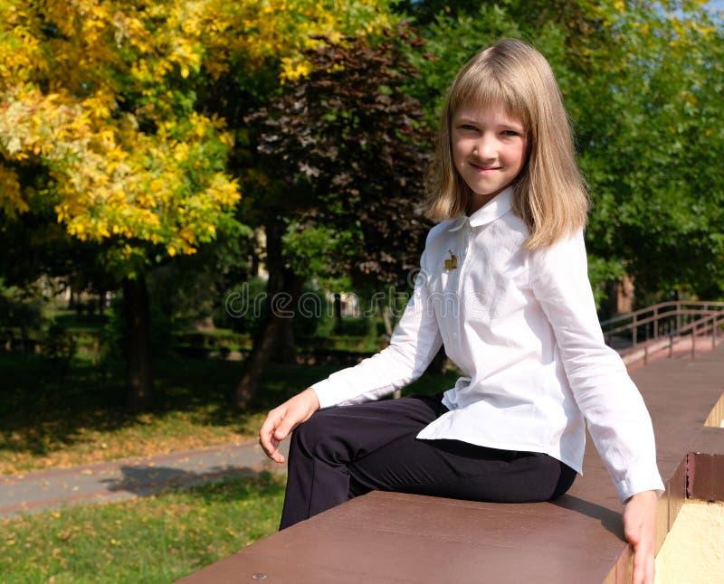 Ståenden av flickan som sitter i hösten, parkerar lite arkivfoton