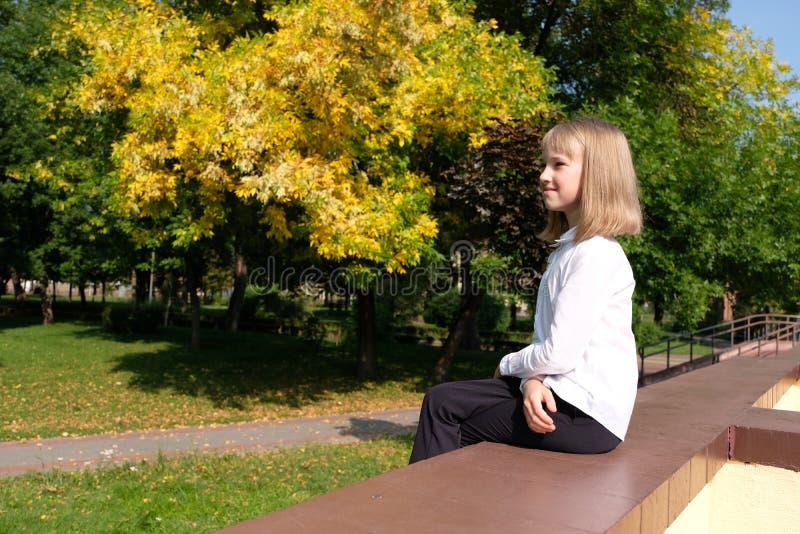 Ståenden av flickan som sitter i hösten, parkerar lite royaltyfri foto