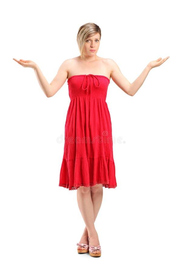 Ståenden av göra en gest för kvinna vet inte royaltyfri fotografi