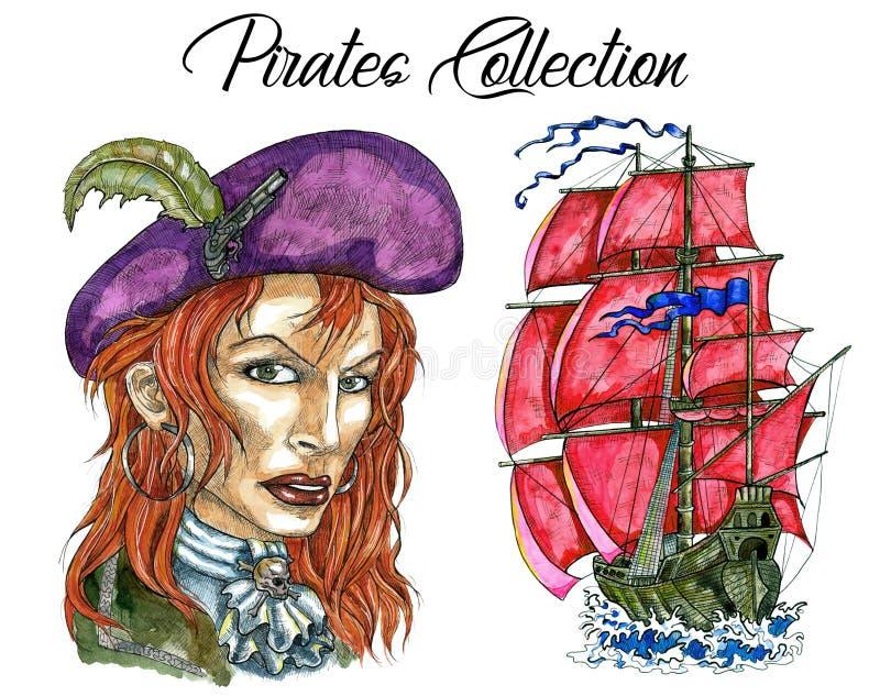 St?enden av kvinnan piratkopierar kaptenen och seglingskeppet vektor illustrationer