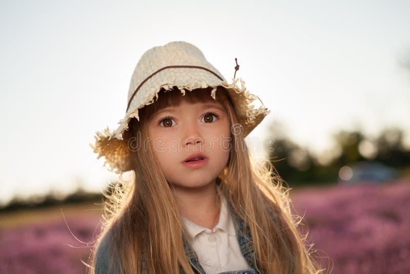 Ståenden av lilla flickan är i ett lavendelfält royaltyfri foto