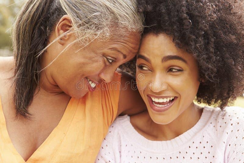 Ståenden av modern med den vuxna dottern parkerar in arkivbilder