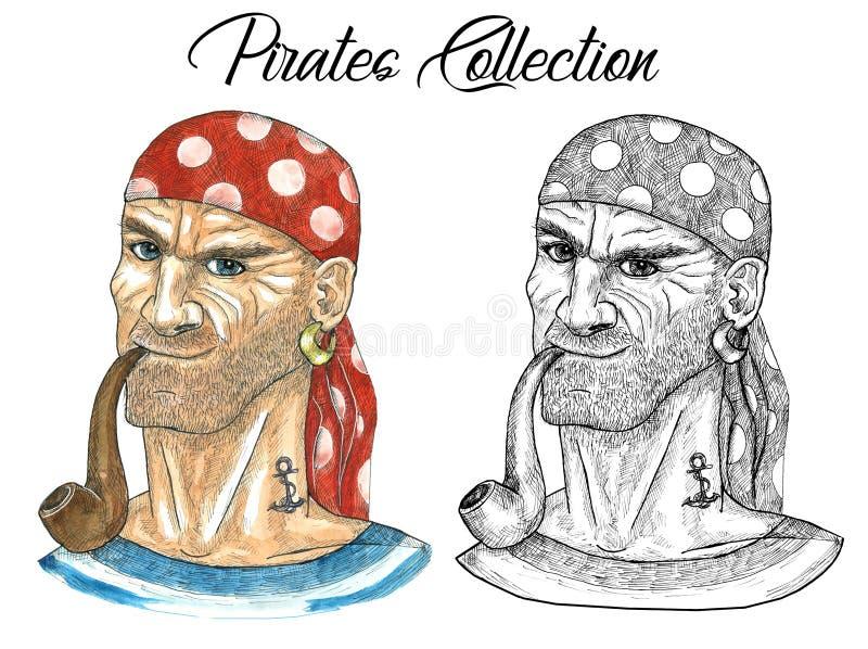 Ståenden av piratkopierar kaptenen i sjalett med röret och konturn royaltyfri illustrationer