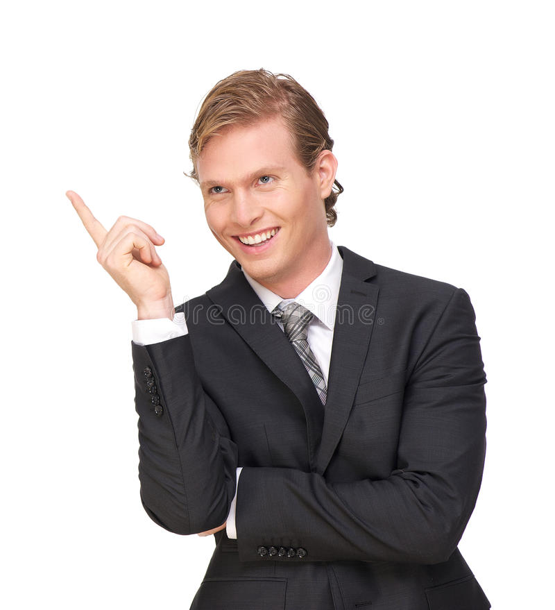 Att peka för affärsman fingrar upp arkivfoto