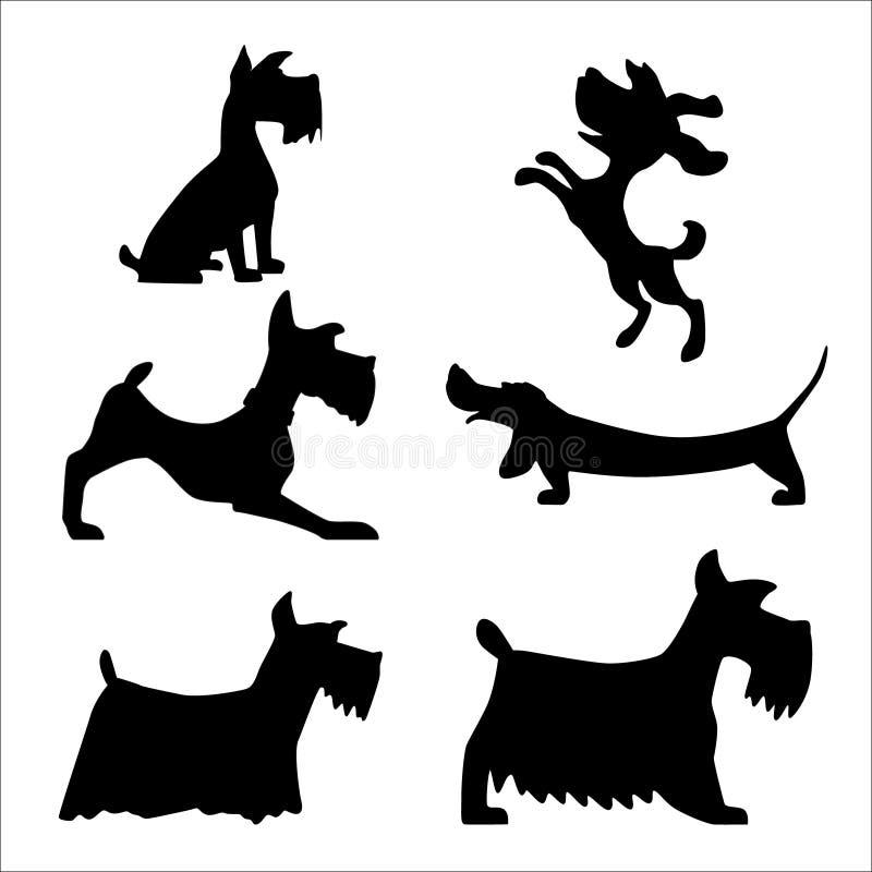 Ståenden av två gulliga hundkapplöpning, stort och litet, illustrationen av smärtar vektor illustrationer