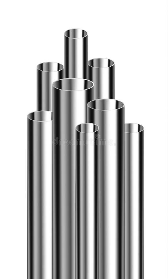 Stål- eller aluminiumrör av olika diametrar royaltyfri illustrationer