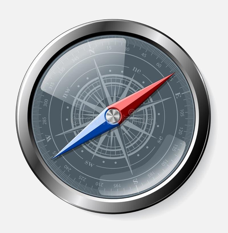 Stål specificerad kompass över grå bakgrund royaltyfri illustrationer