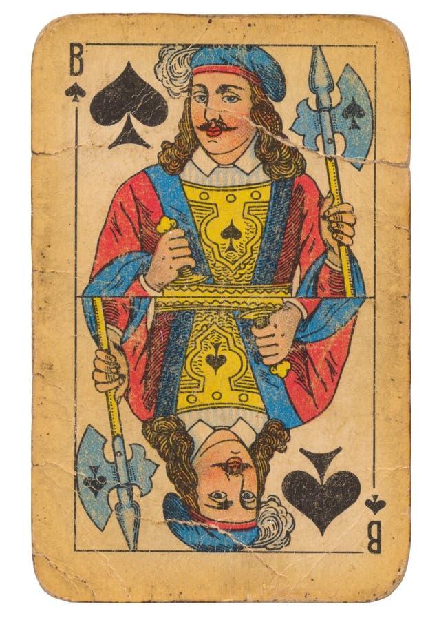 Stålar av kortet för gammal stil för grunge för spadar det spela sovjetisk royaltyfria foton