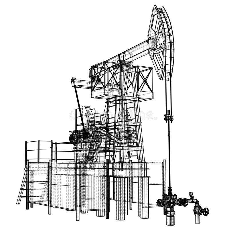 Stålar för olje- pump i tråd-ram stil stock illustrationer