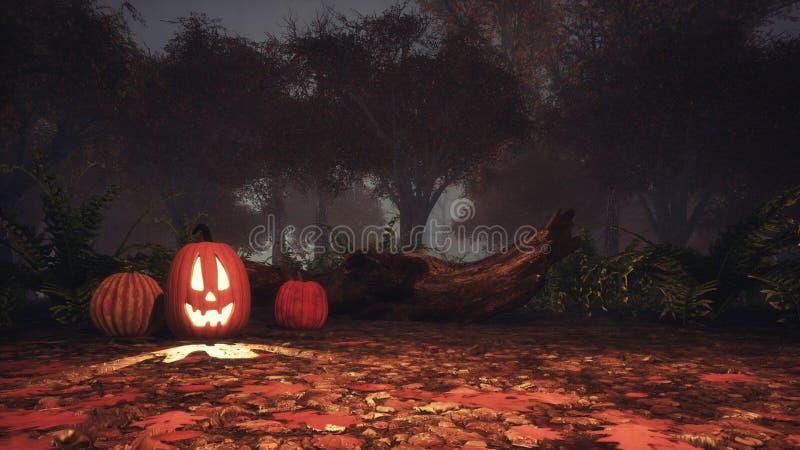 Stålar-nolla-lykta pumpa i spöklik skog på skymning royaltyfri illustrationer
