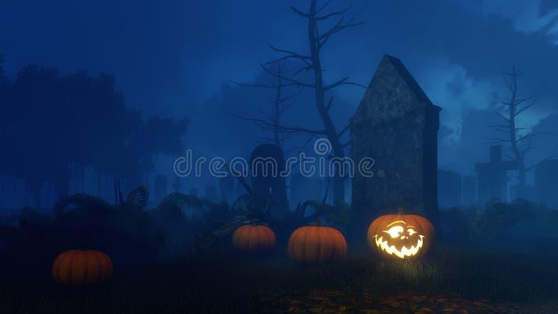 Stålar-nolla-lykta pumpa nära den gamla gravstenen på natten vektor illustrationer