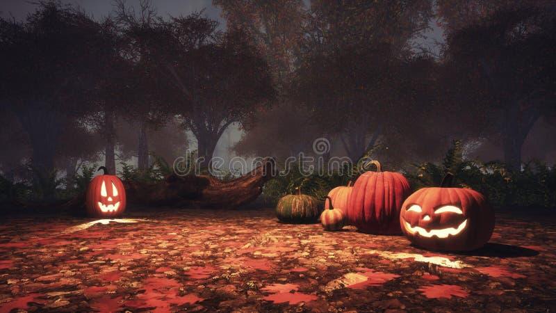 Stålar-nolla-lykta pumpor i höstskog på natten royaltyfri illustrationer
