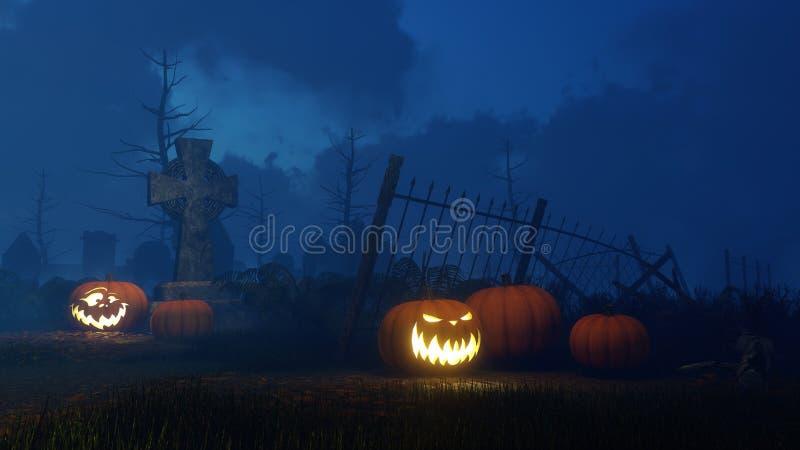 Stålar-nolla-lykta pumpor på nattkyrkogården stock illustrationer