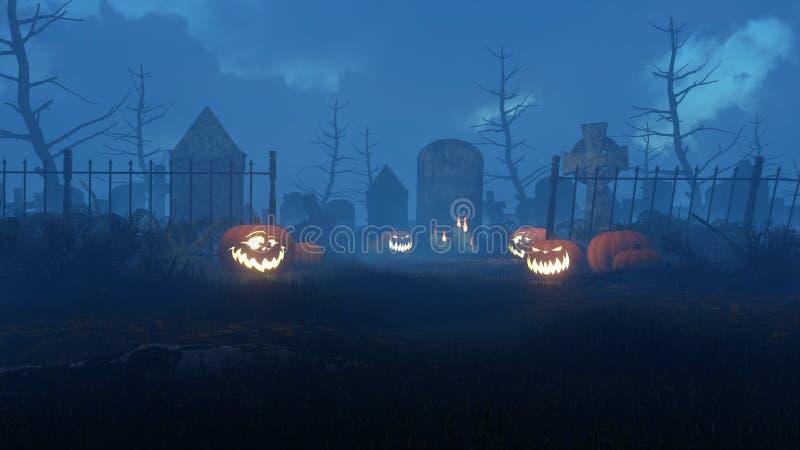 Stålar-nolla-lykta pumpor på nattkyrkogården vektor illustrationer