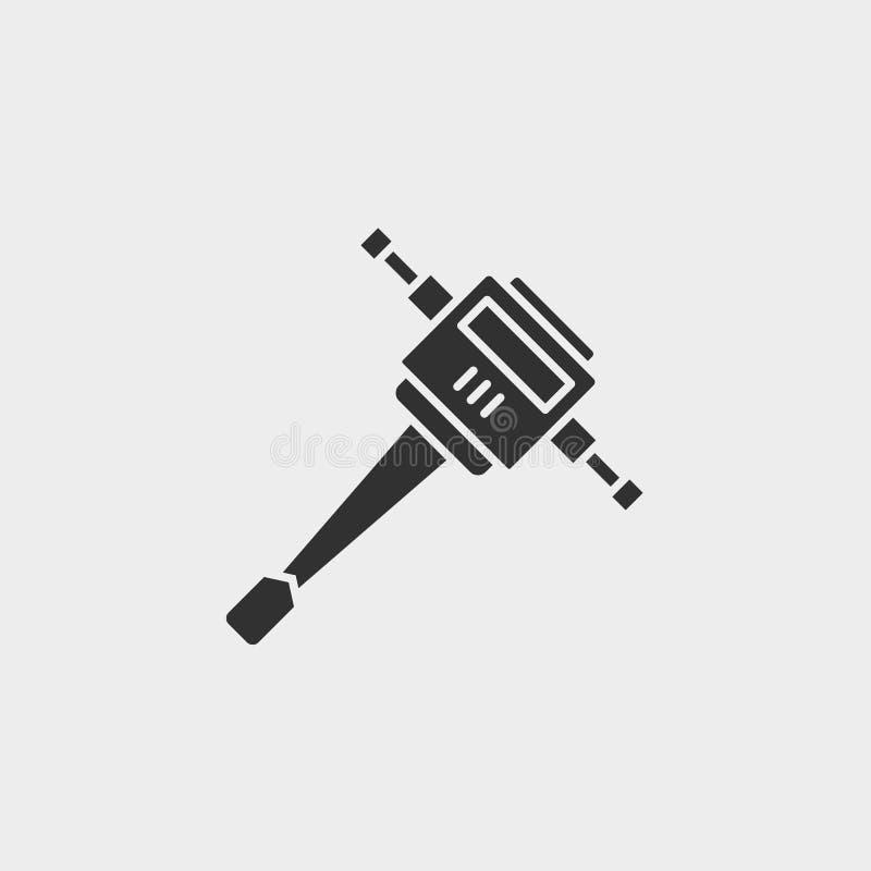 Stålarhammare, byggnad, symbol, plan illustration isolerat vektorteckensymbol - svart för vektor för konstruktionshjälpmedelsymbo stock illustrationer