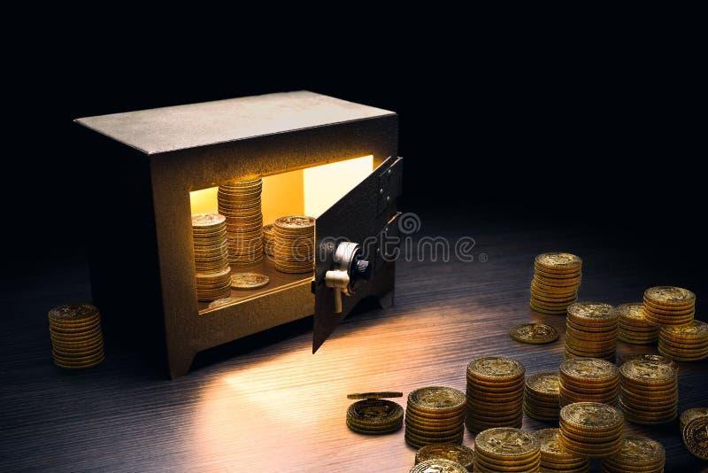 Stålbankkassaskåp på en mörk bakgrund royaltyfri bild