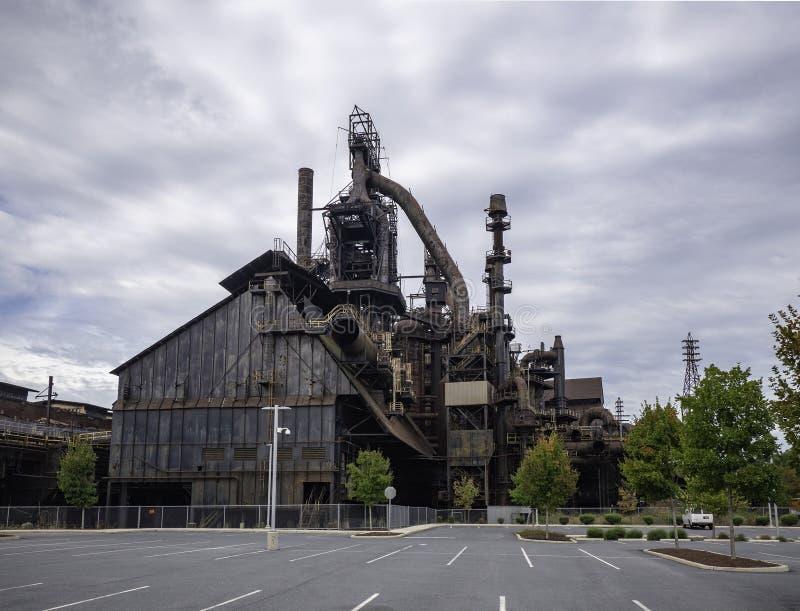 Stålfabrik som står fortfarande i Betlehem PA fotografering för bildbyråer