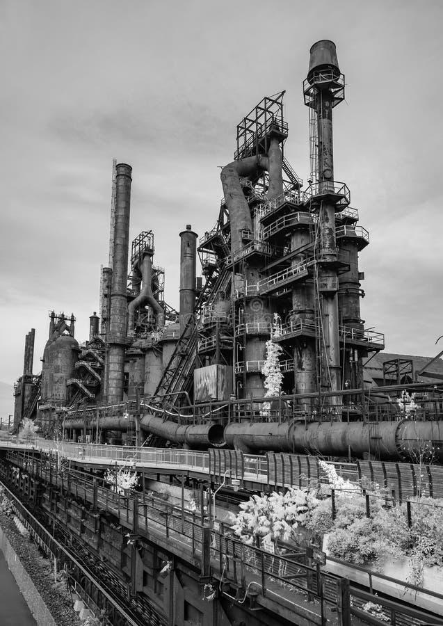 Stålfabrik som står fortfarande i Betlehem PA arkivbilder