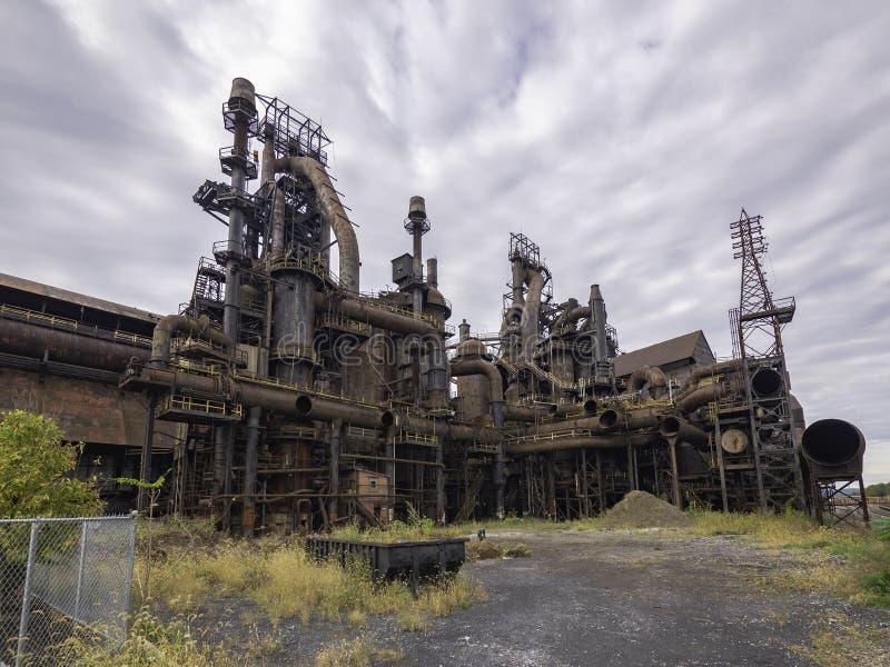 Stålfabrik som står fortfarande i Betlehem PA royaltyfri foto