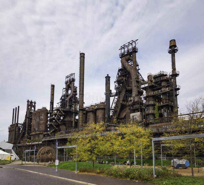 Stålfabrik som står fortfarande i Betlehem PA arkivfoto